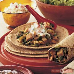 These mouthwatering Indian-style wraps are quick to make. Use traditional Indian chapati or wholemeal tortilla if you cannot get them. Meatloaf Recipes, Chili Recipes, Lunch Recipes, Crockpot Recipes, Chapati, Okra, Banana Bread Recipes, Bon Appetit, Allrecipes