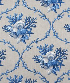 Duralee Sheldon Natural/Blue florida interior design pattern designer beach tropical home ideas material patch sewing Coastal Fabric, Home Decor Fabric, Blue And White Fabric, Grey Fabric, Boat Wallpaper, Leaf Projects, Curtain Patterns, Textiles, Queen Duvet