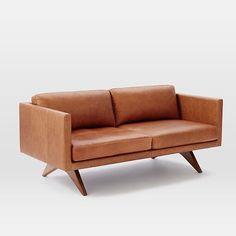 "Brooklyn Leather Loveseat (66.5"") #westelm"