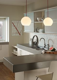 Cleo Pendant by Tech Lighting. #lighting #pendant #pendantlight #kitchen #kitchendecor #kitchenlight #modern #modernkitchen #TechLighting