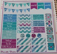 Glitter weekly planner sticker kit for erin condren