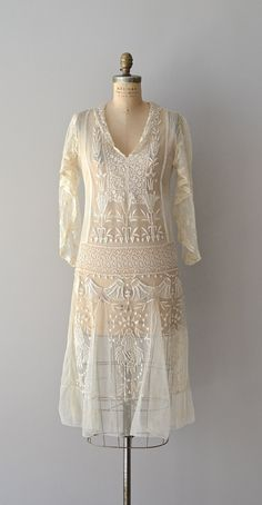 lovely embroidered, sheer silk lace 1920's dress