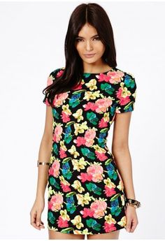 Missguided - Relina Neon Floral Print Bodycon Dress