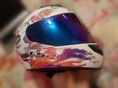 It's kinda cool to put on a iridium helmet visor Motorcycle Helmet Visor, Visors, Colorful, Cool Stuff
