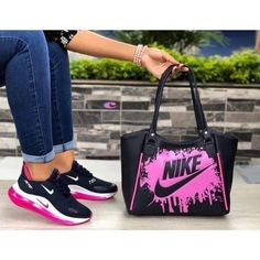 Black/pink tote bag & shoes set