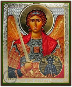 "St. MICHAEL ""Who is like unto God "" He is called the Archistrategos, or chief commander, of all the bodiless powers. The Chief Commander of the Heavenly hosts, Michael usually holds a sword in one hand & in the other he often carries either a shield, date-tree branch, a spear, or white banner (possibly with a scarlet cross). He is most likely to be wearing red."