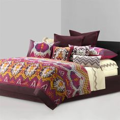 N Natori Bedding, Chapan Comforter Sets - Bedding Collections - Bed & Bath - Macy's Ikat Bedding, Bed Comforter Sets, Bed Duvet Covers, Comforters, King Comforter, Queen Duvet, Purple Bedding Sets, Bed Linen Design, Bedding Collections