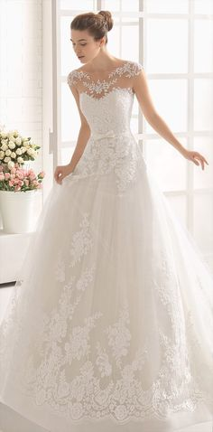 Beaded lace princess-style dress with extra beading, boat neckline and natural waist, in natural.