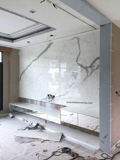 หิน Italia surface: Statuario ติดตั้งงานผนัง T.V www.thaistoneshop.com