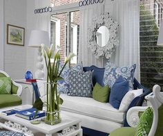 Green Blue And White Living Room Yellow Rooms