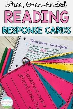 A FREE set of reading response cards to get your students in third, fourth, and fifth grades THINKING about their reading. These are great for reading comprehension and work with any fiction picture book or novel! Reading Resources, Reading Strategies, Reading Activities, Reading Skills, Reading Goals, Classroom Resources, Educational Activities, Classroom Ideas, Reading Response