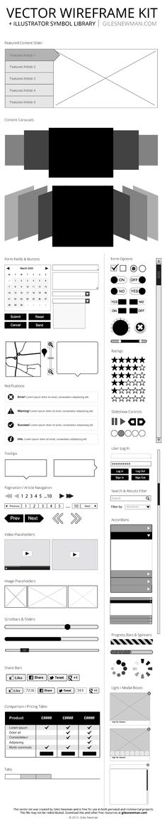 Free Vector Wireframe Kit.