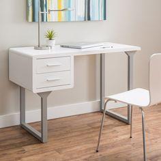 Retro White and Grey Writing Desk