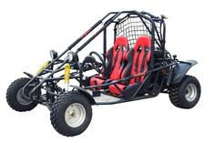 This is a dune buggy, named Kandi 150cc Go Kart. It contains 150cc, single cylinderd, 4 stroke engine andair cooling system. This product's top speed is 38mile/h. Click this image and get more details.