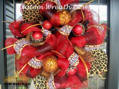 Red and Leopard Whimsical Christmas Wreath.