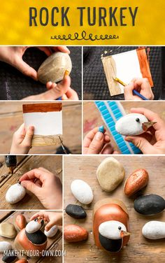 Painted Rock Turkey Craft for Play. Cute Thanksgiving Craft for Kids. Rock Crafts, Arts And Crafts Projects, Fun Crafts, Fun Fall Activities, Creative Activities For Kids, Creative Kids, Thanksgiving Crafts For Kids, Thanksgiving Activities, Acorn Crafts