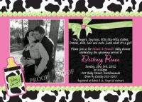 Couples photo cow print baby shower invitations, decorations, party theme, www.poshnchicprints.com