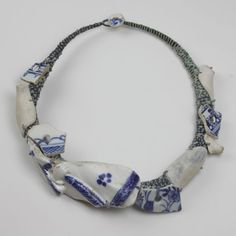 Amanda Caines - Necklace - Suffolk dump dig pottery figure with Thames