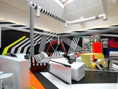 Venice Biennial Cafe, Italy by Tobias Rehberger (2009)    Tobias Rehberger was awarded the Golden Lion as best artist at the 53rd International Art Exhibition, La Biennale di Venezia. Tobias Rehberger received the prize for the cafeteria, for which he collaborated closely with Artek.fi using customized Artek furniture in an ingenious way.  http://graphicambient.com/2012/07/03/venice-biennial-cafe-italy/