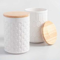 White Textured Ceramic Canisters with Bamboo Lids Set of 2 by World Market is part of White Home Accessories Style Storage Featuring textured honeycomb and diamond geometric designs in classic white - Spice Storage Containers, Storage Canisters, Kitchen Canisters, Jar Storage, Kitchen Items, Kitchen Decor, Kitchen Supplies, Kitchen Tools, Food Storage