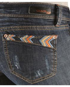 Grace in L.A. Tribal Embroidered Pocket Skinny Jeans