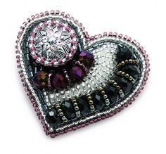 """Брошь """"Сердце"""", базовый МК по вышивке бисером - Ярмарка Мастеров - ручная работа, handmade"""