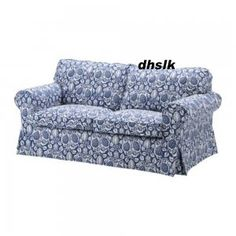 ... Ikea EKTORP 2 Seat Sofa COVER KLINTBO BLUE Loveseat Slipcover FLORAL  Bezug ...