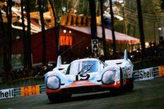 """frenchcurious: """"Richard Attwood & Herbert Müller (Porsche 917 K) 2ème des 24 Heures du Mans 1971 - source Carros e Pilotos. """""""