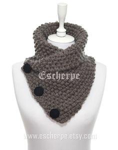 The Boston Cowl Hand Knit Bulky Dark Mink Knitted Cowl by escherpe