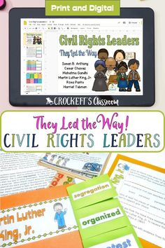 This Print and Google Slides resource is the perfect way to begin your unit on Civil Rights Leaders. You students will learn about Susan B. Anthony, Cesar Chavez, Mahatma Gandhi, Martin Luther King, Jr., Rosa Parks, and Harriet Tubman. They'll read about their accomplishments with a one-page informational text, learn important vocabulary words, and complete an engaging activity. Cesar Chavez, Civil Rights Leaders, Harriet Tubman, Rosa Parks, Mahatma Gandhi, King Jr, Google Classroom, Vocabulary Words, Martin Luther King