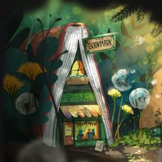Stop in 'The Bookmark' for new, used, and rare books. #art #illustration #kidlitart #kidlit #painting #books #book #forest #bookstore