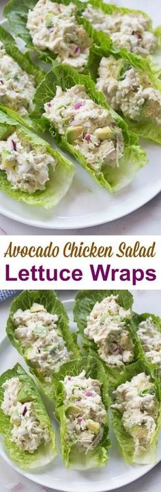 Avocado Chicken Salad Lettuce Wraps is part of Yummy lunches - If you love chicken salad and avocados you will go crazy for these AVOCADO CHICKEN SALAD WRAPS! They make a healthy and delicious lunch that I can't get enough of Healthy Snacks, Healthy Eating, Healthy Recipes, Diet Recipes, Healthy Lunch Ideas, Dinner Healthy, Healthy Delicious Recipes, Dessert Recipes, Juicer Recipes