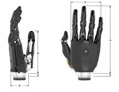 Technical dimensions of the bebionic v2