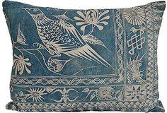 Indigo Pillow w/ Bird