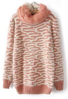 Pink Long Sleeve Asymmetrical Pattern Mohair Sweater