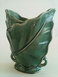 Brush Sage green acanthus leaf vase - mcCoy | eBay