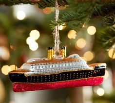 Cruise Ship Ornament   Pottery Barn - I was given a ship at Christmas 2 years ago, on my Panama Canal Cruise.