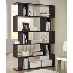 Baxton Studio Dark Brown Goodwin Five-Level Modern Bookshelf ($200) ❤ liked on Polyvore featuring home, furniture, storage & shelves, bookcases, dark brown bookshelf, 5 tier bookcase, 5 shelf bookshelf, modern bookshelves and modern book case