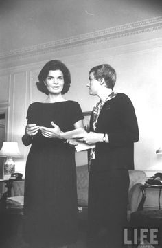 Jackie Kennedy Jackie Kennedy (L), wife of Sen., before press conference in hotel room. Location:New York, NY, US Date taken:1960 Photographer:Alfred Eisenstaedt ✽❤❤❁❤❁❤❤✽    http://en.wikipedia.org/wiki/Jacqueline_Kennedy_Onassis