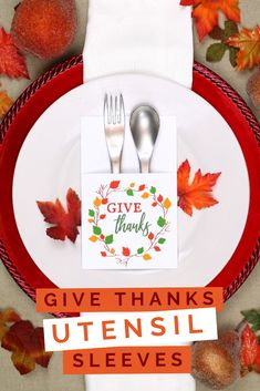 printable Thanksgiving utensil holders add charming decorative detail while serving a purpose on your Thanksgiving table! Free Thanksgiving Printables, Thanksgiving Parties, Thanksgiving Crafts, Thanksgiving Table, Thanksgiving Decorations, Holiday Crafts, Printable Crafts, Free Printables, Utensil Holder