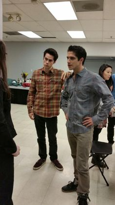 Dylan O'Brien, Tyler Posey and Arden Cho on season 5 set of Teen Wolf