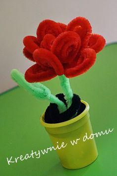 róża z drucików kreatywnych, róża diy