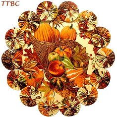 11 in. Thanksgiving Pumpkin Harvest Cornucopia Fabric YoYo Candle Mat Table Centerpiece Doily ... Ebay Item 251176176296 ... $9.99