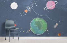 Checkout our cute kids space rocket wallpaper. Create the ultimate space themed kids room with this charming kids space rocket mural. Bedroom Themes, Nursery Themes, Nursery Room, Boy Room, Boys Space Bedroom, Space Themed Nursery, Kids Room Murals, Kids Rooms, Kids Room Wallpaper
