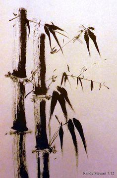 bamboo sumi-e painting