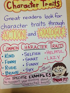 Reading, common core, third grade, character traits, anchor chart