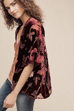 Ruffled Velvet Kimono