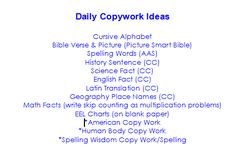 "I found this definition of copywork from a website (www.homefires.com) under their ""Dictionary of Homeschool Terminology for the Totally Confused"" This technique is used to help student…"