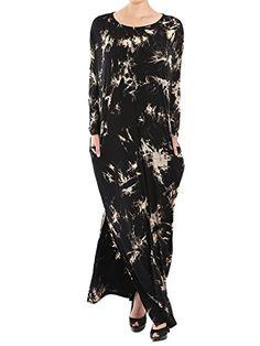 Jay Jay Women Vintage Loose Fit Long Sleeve Split Tie Dye Maxi Long Dress with Pocket