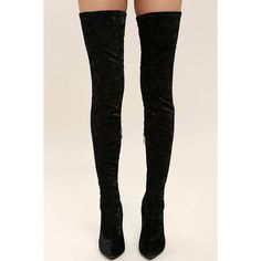 Julia Black Velvet Thigh High Boots ($39) ❤ liked on Polyvore featuring shoes, boots, over-the-knee boots, stretch boots, over knee boots, above the knee boots, black boots and thigh-high boots